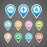 Iconos del viaje de los pernos del mapa fijados Imagen de archivo