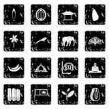 Iconos del viaje de Sri Lanka fijados Foto de archivo libre de regalías