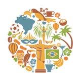 Iconos del viaje del Brasil y cartel de visita turístico de excursión de las señales del vector stock de ilustración