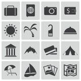 Iconos del viaje del negro del vector Stock de ilustración