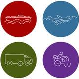 Iconos del viaje del transporte Fotografía de archivo libre de regalías