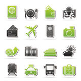 Iconos del viaje, del transporte y de las vacaciones Imagen de archivo libre de regalías