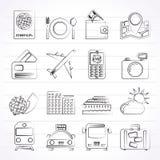 Iconos del viaje, del transporte y de las vacaciones Imágenes de archivo libres de regalías
