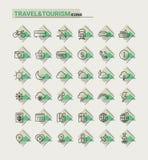Iconos del viaje, del turismo y del tiempo, sistema 1 Fotografía de archivo libre de regalías