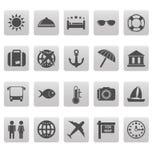Iconos del viaje en cuadrados grises Fotos de archivo libres de regalías