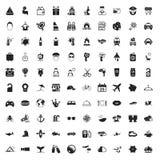Iconos del viaje 100 fijados para el web Fotografía de archivo