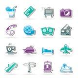 Iconos del viaje y de las vacaciones Fotografía de archivo libre de regalías