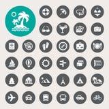 Iconos del viaje y de las vacaciones fijados Fotografía de archivo