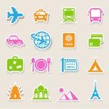 Iconos del viaje y de las vacaciones fijados Fotografía de archivo libre de regalías