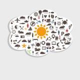 Iconos del viaje y del día de fiesta en nube Imagen de archivo