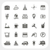 Iconos del viaje y del hotel fijados Imagenes de archivo