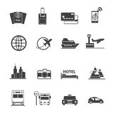 Iconos del viaje y del transporte fijados Imagenes de archivo
