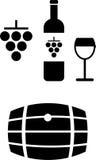 Iconos del vino stock de ilustración
