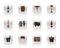Iconos del vino Foto de archivo libre de regalías