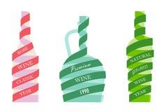 Iconos del vino de las botellas stock de ilustración