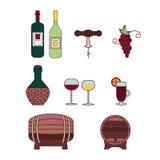 Iconos del vino del vector Imágenes de archivo libres de regalías