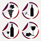 Iconos del vino del vintage en etiquetas engomadas redondas con la esquina curvada Fotografía de archivo