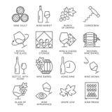 Iconos del vino fijados aislados en el fondo blanco Fotos de archivo