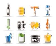 Iconos del vino y de la bebida Fotografía de archivo