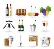 Iconos del vino y de la bebida Imagen de archivo libre de regalías