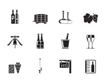 Iconos del vino y de la bebida de la silueta Foto de archivo