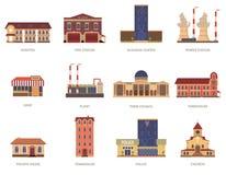 Iconos del vintage de los edificios de la ciudad fijados Imágenes de archivo libres de regalías