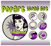 Iconos del vintage del cocinero y de la comida Imagen de archivo libre de regalías
