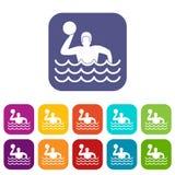Iconos del water polo fijados Fotos de archivo libres de regalías