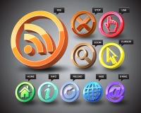 iconos del Web 3D Foto de archivo