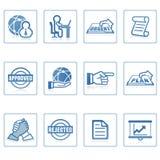 Iconos del Web: asunto global y oficina Imagenes de archivo