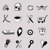 Iconos del web blancos y negros Imagen de archivo