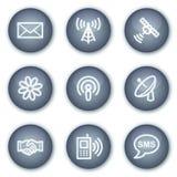 Iconos del Web de la comunicación, botones minerales del círculo Fotografía de archivo