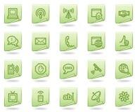 Iconos del Web de la comunicación del Internet, documento verde Foto de archivo