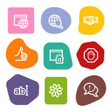 Iconos del Web de la comunicación del Internet, puntos del color Imagenes de archivo