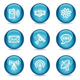 Iconos del Web de la comunicación, serie brillante azul de la esfera Fotografía de archivo libre de regalías