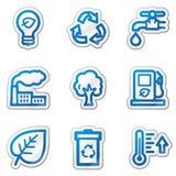 Iconos del Web de la ecología, serie azul de la etiqueta engomada del contorno Fotografía de archivo libre de regalías