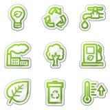 Iconos del Web de la ecología, serie verde de la etiqueta engomada del contorno Imagenes de archivo