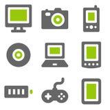 Iconos del Web de la electrónica, iconos sólidos grises verdes Foto de archivo