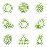 Iconos del Web de la fruta, serie verde de la etiqueta engomada del contorno Foto de archivo libre de regalías