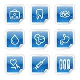 Iconos del Web de la medicina, serie brillante azul de la etiqueta engomada Foto de archivo libre de regalías
