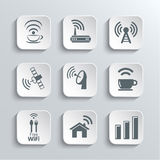 Iconos del web de la radio y del Wi-Fi fijados Imagen de archivo libre de regalías