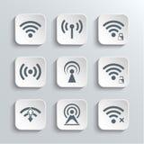 Iconos del web de la radio y del Wi-Fi fijados Fotografía de archivo libre de regalías