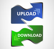 Iconos del web de la transferencia directa y de la carga por teletratamiento, botones Imágenes de archivo libres de regalías
