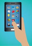 Iconos del web de las aplicaciones de software en la pantalla táctil elegante del teléfono