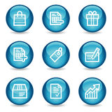 Iconos del Web de las compras, serie brillante azul de la esfera Imagen de archivo