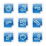 Iconos del Web de las flechas, serie brillante azul de la etiqueta engomada Imágenes de archivo libres de regalías