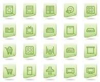 Iconos del Web de los aparatos electrodomésticos, serie verde del documento Imagen de archivo libre de regalías