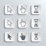 Iconos del web de los cursores del pixel fijados Fotos de archivo