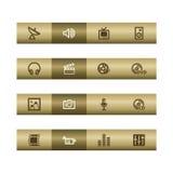 Iconos del Web de los media en la barra de bronce libre illustration