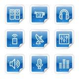 Iconos del Web de los media, serie azul de la etiqueta engomada Fotografía de archivo libre de regalías
